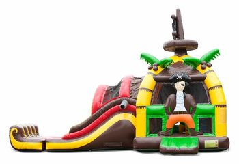 Groot opblaasbaar overdekt multiplay super springkussen met glijbaan kopen in thema piraat pirate voor kinderen. Bestel springkussens online bij JB Inflatables Nederland