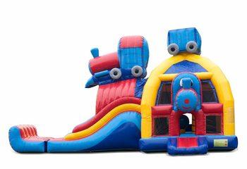 Groot opblaasbaar overdekt multiplay super springkussen met glijbaan kopen in thema trein voor kinderen. Bestel springkussens online bij JB Inflatables Nederland