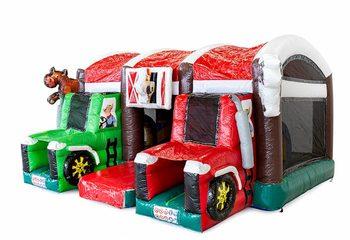 Groot overdekt opblaasbaar multiplay luchtkussen met glijbaan kopen in thema boerderij tractor voor kinderen. Bestel luchtkussens online bij JB Inflatables Nederland