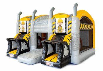 Groot overdekt opblaasbaar geel zwart XXL springkussen met glijbaan kopen in thema heavy duty voor kinderen. Bestel springkussens online bij JB Inflatables Nederland