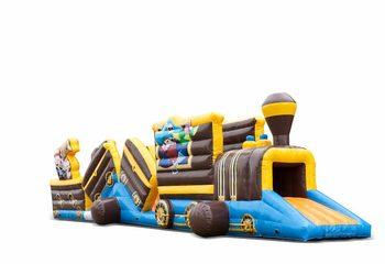 Groot opblaasbaar play fun tunnel springkussen kopen in thema trein piraten voor kinderen. Bestel springkussens online bij JB Inflatables Nederland