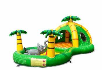 Opblaasbaar halfopen play fun springkussen kopen in thema playzone jungle oerwoud voor kinderen. Bestel springkussens online bij JB Inflatables Nederland