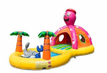 Opblaasbaar halfopen play fun springkussen met zwembadje kopen in thema playzone seaworld zee voor kinderen . Bestel springkussens online bij JB Inflatables Nederland