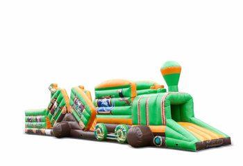 Groot opblaasbaar play fun springkussen tunnel kopen in thema trein safari voor kinderen. Bestel springkussens online bij JB Inflatables Nederland