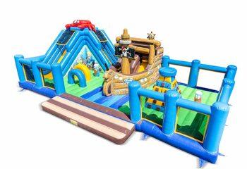 Groot opblaasbaar open speelpark springkussen van 15 meter met glijbaan en spellen kopen in thema sealife zee voor kinderen