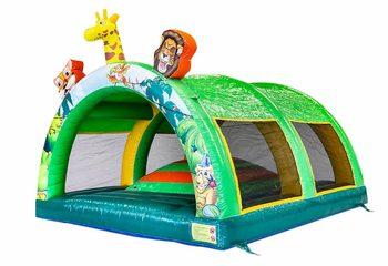 Groot opblaasbaar overdekt speelberg springkussen kopen in thema jungle oerwoud voor kinderen. Bestel springkussen online bij JB Inflatables Nederland
