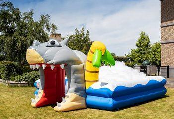 Opblaasbaar open bubble boarding park luchtkussen met schuim kopen in thema haai shark world voor kinderen