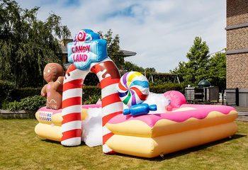 Opblaasbaar open bubble boarding park springkussen met schuim bestellen in thema candyland snoep lollipop voor kinderen