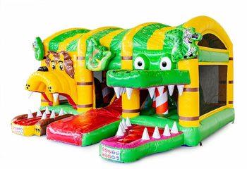 Overdekt opblaasbaar luchtkussen met glijbaan kopen in thema jungle world voor kinderen. Bestel luchtkussens online bij JB Inflatables Nederland