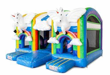 Groot opblaasbaar overdekt multiplay luchtkussen met glijbaan kopen in thema unicorn voor kinderen. Bestel luchtkussens online bij JB Inflatables Nederland