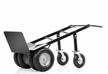 Handige steekwagen zwart kopen met zes wielen voor inflatables