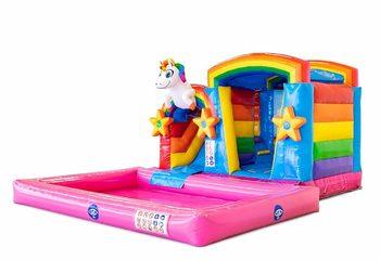Bestel opblaasbaar multiplay springkussen in thema unicorn met of zonder bad voor kinderen bij JB Inflatables Nederland. Koop springkussens online bij JB Inflatables Nederland