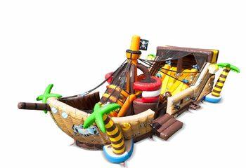 Bestel Mega Piraten Shooter springkussen in schip vorm met schiet spel en glijbaan voor kinderen. Koop springkussens online bij JB Inflatables Nederland