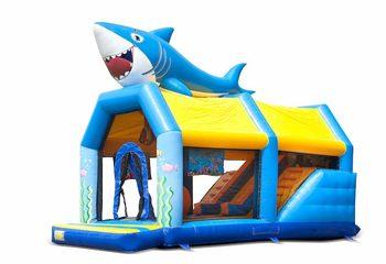 Bestel shooting combo seaworld springkussen met schiet spel en glijbaan voor kinderen. Koop springkussens online bij JB Inflatables Nederland