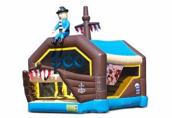 Bestel shooting combo small piraat springkussen met schiet spel en glijbaan voor kinderen. Koop springkussens online bij JB Inflatables Nederland