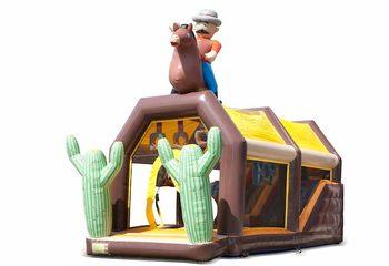 Bestel shooting combo western springkussen met schiet spel en glijbaan voor kinderen. Koop springkussens online bij JB Inflatables Nederland