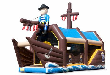 Bestel shooting combo piraat springkussen met schiet spel en glijbaan voor kinderen. Koop springkussens online bij JB Inflatables Nederland