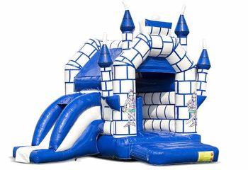 Midi overdekt multifun springkussen met glijbaan kopen in een kleuren combinatie van blauw en wit en in kasteel thema voor kinderen. Bestel springkussens online bij JB Inflatables Nederland