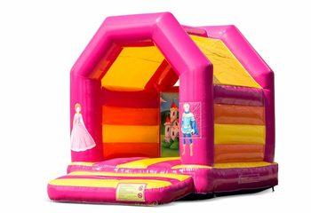 Midi springkussen kopen in een kleuren combinatie van roze en geel in prinses thema voor kinderen. Bestel springkussens online bij JB Inflatables Nederland