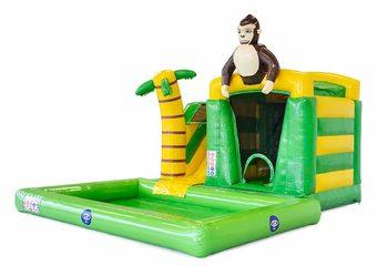Bestel opblaasbaar mini groen splash bounce springkussen in jungle thema met bovenop 3D object van een gorilla voor kinderen. Koop springkussens online bij JB Inflatables Nederland