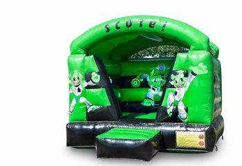 Klein overdekt interactief springkussen in een kleuren combinatie van groen en zwart voor kinderen te koop. Bestel springkussens online bij JB Inflatables Nederland