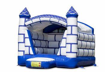 Mini overdekt springkussen in kasteel thema in een kleuren combinatie van blauw en wit te koop. Koop springkussens online bij JB Inflatables Nederland