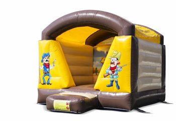 Mini overdekt springkussen in western thema voor kinderen in een kleuren combinatie van geel en bruin te koop. Bestel nu springkussens online bij JB Inflatables Nederland