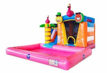 Koop opblaasbaar mini splash bounce springkussen in flamingo thema met of zonder bad . Bestel springkussens online bij JB Inflatables Nederland