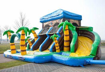 Groot opblaasbaar luchtkussen met glijbaan kopen in thema Pirate House piraat voor kinderen van JB Inflatable