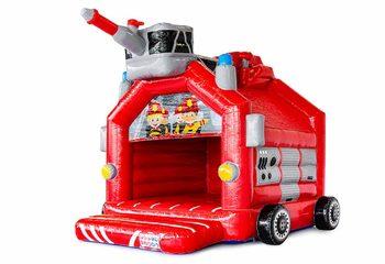 Standaard overdekt springkussen kopen in thema brandweer voor kinderen