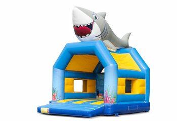 Koop uniek standaard springkussen met een 3D object van een haai aan de bovenkant voor kinderen. Koop springkussens online bij JB Inflatables Nederland