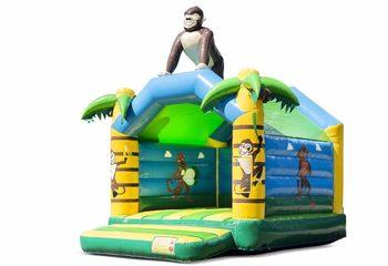 Standaard jungle springkussen kopen in opvallende kleuren met bovenop een groot gorilla 3D object voor kinderen. Koop springkussens online bij JB Inflatables Nederland