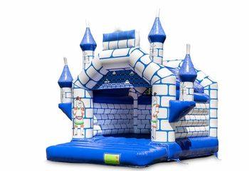 Koop standaard blauw kasteel springkussen met een ridder thema voor kinderen. Bestel springkussens online bij JB Inflatables Nederland