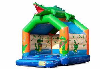 Bestel standaard krokodil springkussen met een 3D object bovenop voor kinderen. Koop springkussens online bij JB Inflatables Nederland
