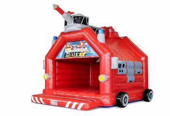 Groot overdekt springkussen kopen in thema brandweer voor kinderen