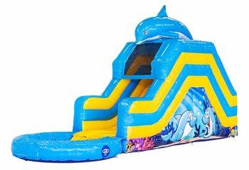 Springkussen met waterglijbaan kopen voor in tuin in thema dolfijn voor kinderen. Bestel springkussens online bij JB Inflatables Nederland