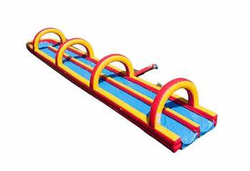 Opblaasbare dubbele buikschuifbaan 20 meter lang kopen voor kinderen