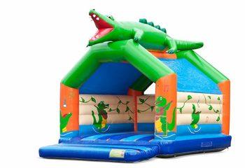 Groot overdekt springkussen kopen in thema krokodil voor kinderen. Bestel springkussens online bij JB Inflatables Nederland