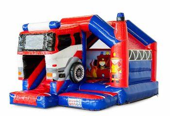 Bestel opblaasbare slide combo springkussen in thema brandweer voor kinderen. Opblaasbare springkussens met glijbaan te koop bij JB Inflatables Nederland