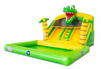 Multifunctioneel splashy bounce slide krokodil springkussen kopen bij JB Inflatables Nederland. Bestel springkussens online bij JB Inflatables Nederland