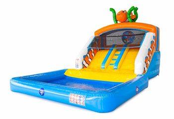 Opblaasbaar splashy slide springkasteel met dubbele glijbaan en waterbadje kopen in thema seaworld zee nemo voor kinderen bij JB Inflatables Nederland. Bestel springkastelen online bij JB Inflatables Nederland