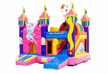 Opblaasbaar springkussen met glijbaan in fairy wonderland thema kopen voor kinderen. Bestel opblaasbare springkussens online at JB Inflatables Nederland