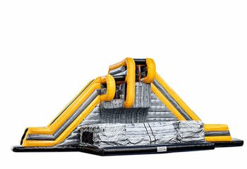 Opblaasbare base jump grijs geel met glijbaan kopen voor kinderen