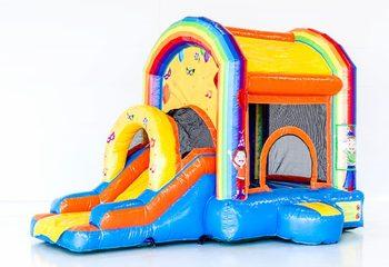 Groot overdekt opblaasbaar springkussen met glijbaan kopen in het thema feest fun voor kinderen