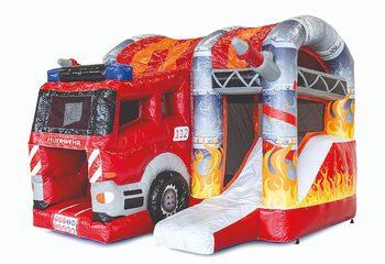 Opblaasbare overdekte multiplay l met glijbaan in brandweer thema te koop voor kinderen