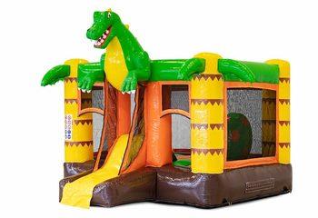 Koop opblaasbare mini multiplay springkussen in dinosaurus thema met glijbaan voor kinderen. Bestel opblaasbare springkussens online bij JB Inflatables Nederland
