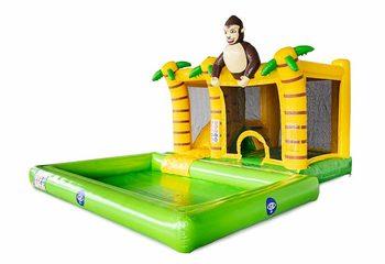Opblaasbaar Multi Splash Bounce springkussen met waterbadje kopen in thema jungle oerwoud voor kinderen bij JB Inflatables