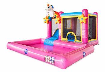 Opblaasbaar Multi Splash Bounce Unicorn springkussen met waterbadje kopen in thema unicorn eenhoorn regenboog rainbow voor kinderen bij JB Inflatables