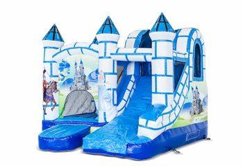 Klein overdekt opblaasbaar multiplay springkussen met glijbaan bestellen in thema blauw wit kasteel voor kinderen. Koop opblaasbare springkussens online bij JB Inflatables Nederland