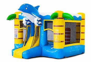 Mini multiplay springkussen met glijbaan in blauwe dolfijn thema te koop voor kinderen. Bestel online opblaasbare springkussens bij JB Inflatables Nederland